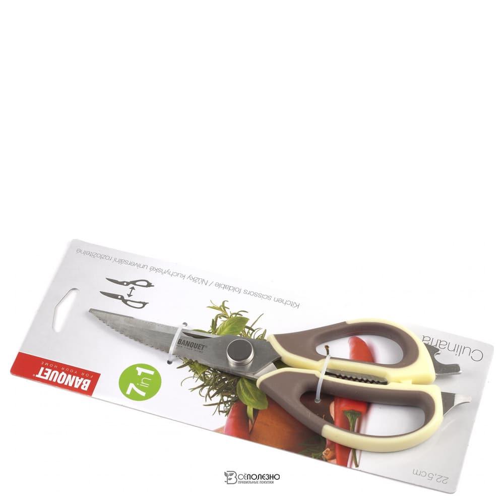 Ножницы кухонные металлические с пластмассовыми ручками 22,5 см 102919