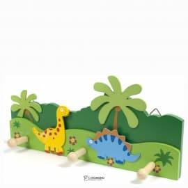 """ВЕШАЛКА НАСТЕННАЯ деревянная 3 крючка """"Динозавры"""" 33*15 см  103520"""