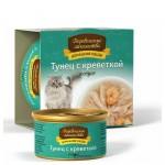 Корм для кошек Деревенские лакомства Домашние обеды тунец с креветкой в соусе, 80г 106775